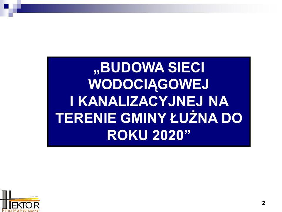 """22 """"BUDOWA SIECI WODOCIĄGOWEJ I KANALIZACYJNEJ NA TERENIE GMINY ŁUŻNA DO ROKU 2020"""