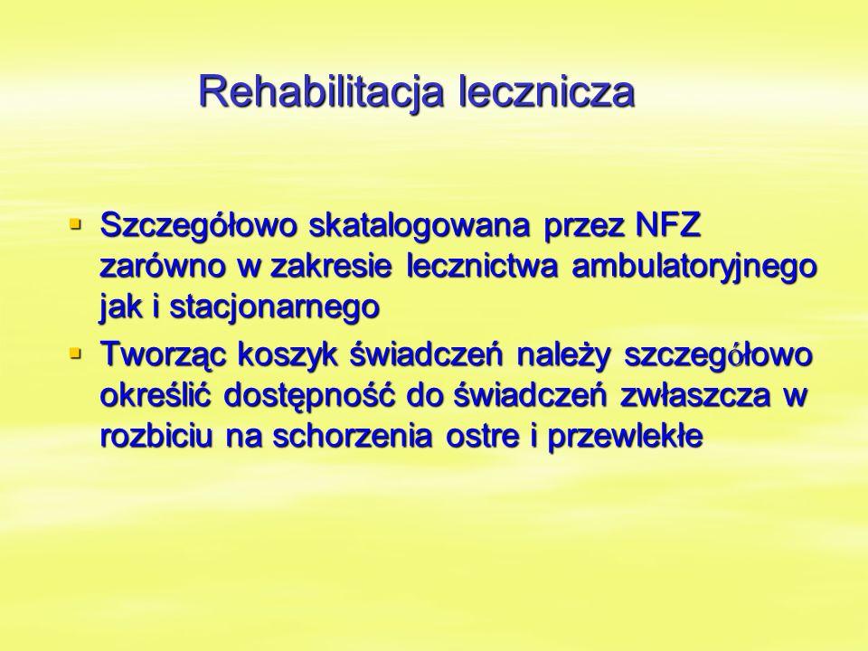 Rehabilitacja lecznicza  Szczegółowo skatalogowana przez NFZ zarówno w zakresie lecznictwa ambulatoryjnego jak i stacjonarnego  Tworząc koszyk świadczeń należy szczeg ó łowo określić dostępność do świadczeń zwłaszcza w rozbiciu na schorzenia ostre i przewlekłe