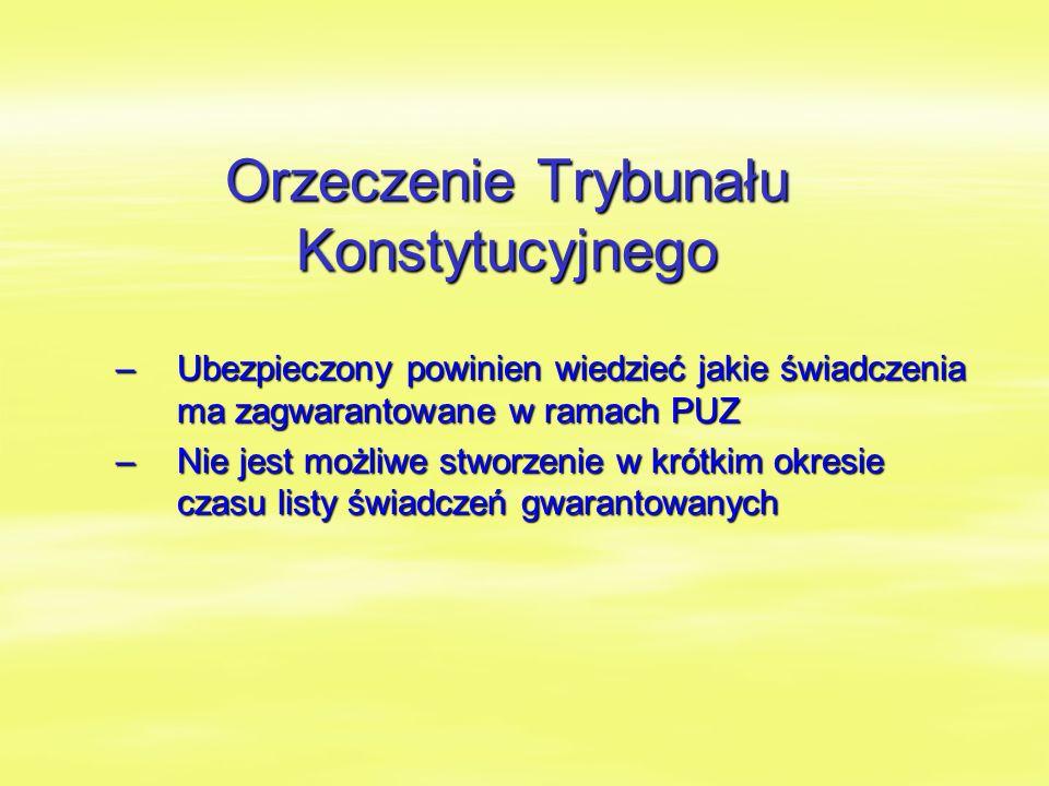 Orzeczenie Trybunału Konstytucyjnego –Ubezpieczony powinien wiedzieć jakie świadczenia ma zagwarantowane w ramach PUZ –Nie jest możliwe stworzenie w krótkim okresie czasu listy świadczeń gwarantowanych