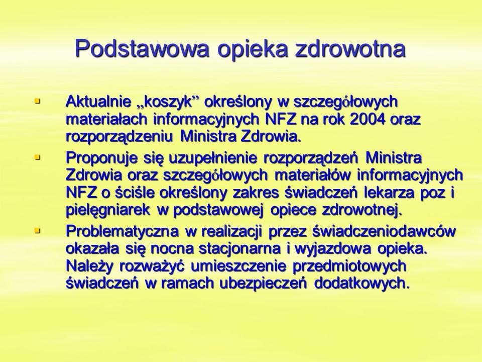 """Podstawowa opieka zdrowotna  Aktualnie """" koszyk określony w szczeg ó łowych materiałach informacyjnych NFZ na rok 2004 oraz rozporządzeniu Ministra Zdrowia."""