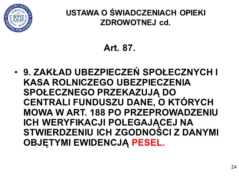 24 USTAWA O ŚWIADCZENIACH OPIEKI ZDROWOTNEJ cd. Art.