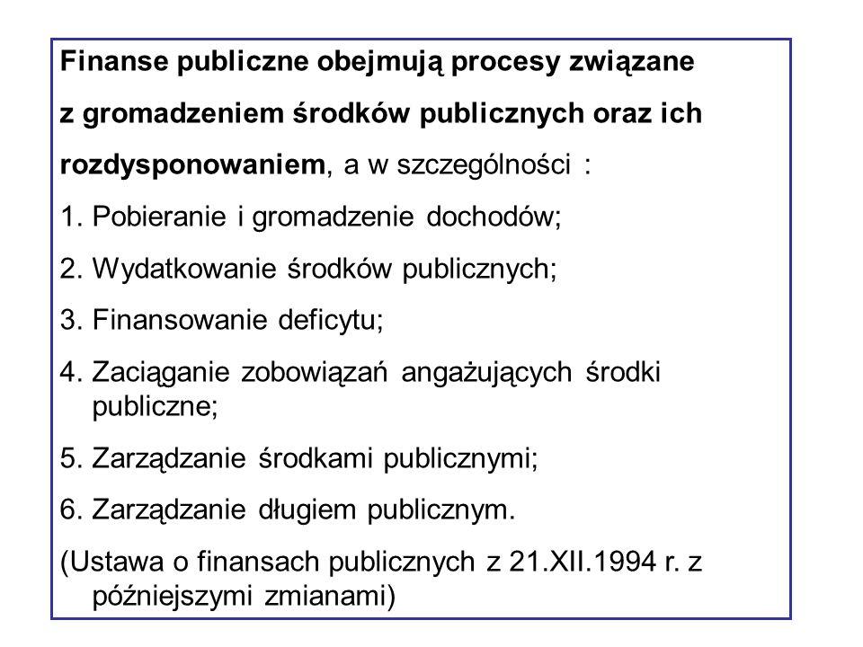 Finanse publiczne obejmują procesy związane z gromadzeniem środków publicznych oraz ich rozdysponowaniem, a w szczególności : 1.Pobieranie i gromadzenie dochodów; 2.Wydatkowanie środków publicznych; 3.Finansowanie deficytu; 4.Zaciąganie zobowiązań angażujących środki publiczne; 5.Zarządzanie środkami publicznymi; 6.Zarządzanie długiem publicznym.