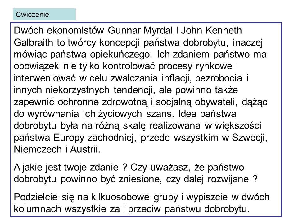 Ćwiczenie Dwóch ekonomistów Gunnar Myrdal i John Kenneth Galbraith to twórcy koncepcji państwa dobrobytu, inaczej mówiąc państwa opiekuńczego.