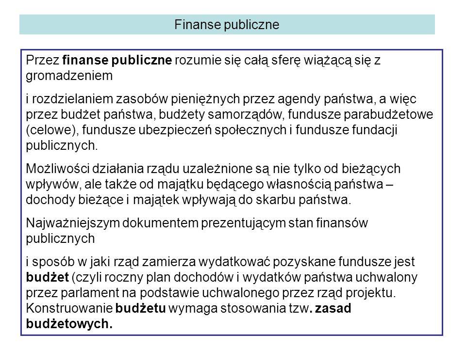 Finanse publiczne Przez finanse publiczne rozumie się całą sferę wiążącą się z gromadzeniem i rozdzielaniem zasobów pieniężnych przez agendy państwa, a więc przez budżet państwa, budżety samorządów, fundusze parabudżetowe (celowe), fundusze ubezpieczeń społecznych i fundusze fundacji publicznych.