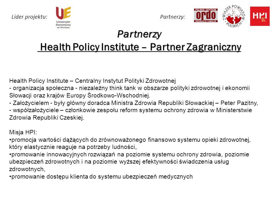 Partnerzy Health Policy Institute – Partner Zagraniczny Health Policy Institute – Centralny Instytut Polityki Zdrowotnej - organizacja społeczna - niezależny think tank w obszarze polityki zdrowotnej i ekonomii Słowacji oraz krajów Europy Środkowo-Wschodniej.
