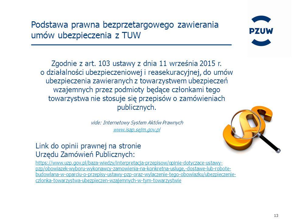 13 Podstawa prawna bezprzetargowego zawierania umów ubezpieczenia z TUW Zgodnie z art.