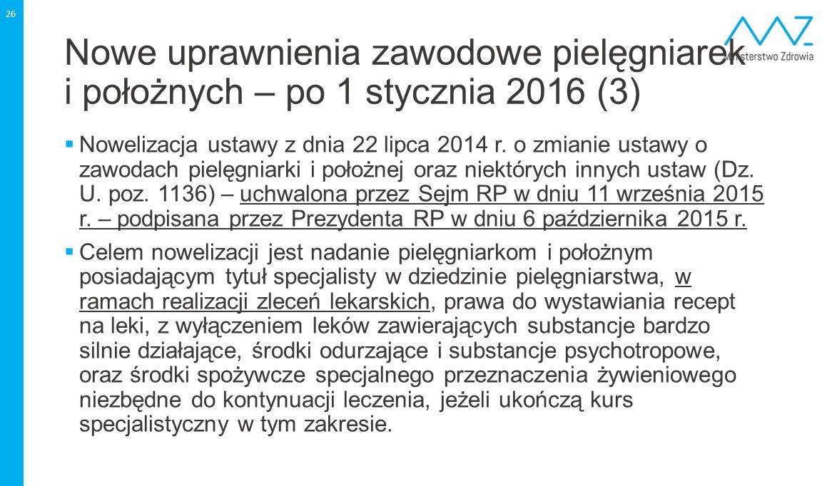 Nowe uprawnienia zawodowe pielęgniarek i położnych – po 1 stycznia 2016 (3)  Nowelizacja ustawy z dnia 22 lipca 2014 r. o zmianie ustawy o zawodach p