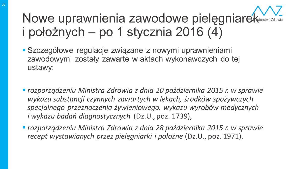 Nowe uprawnienia zawodowe pielęgniarek i położnych – po 1 stycznia 2016 (4)  Szczegółowe regulacje związane z nowymi uprawnieniami zawodowymi zostały