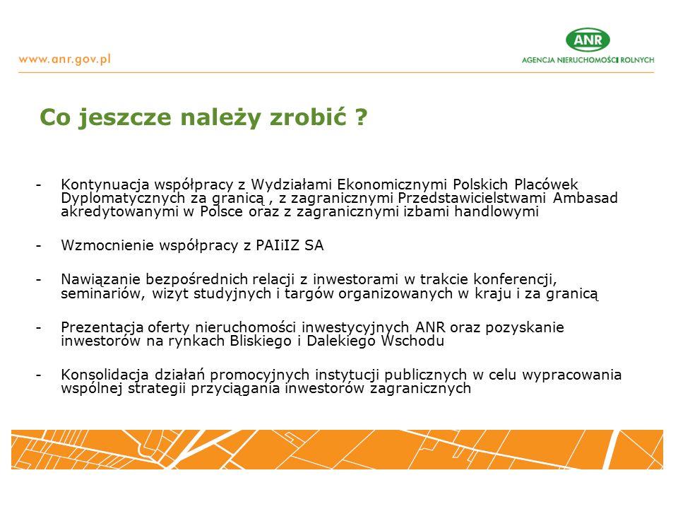Przykładowe transakcje w nieruchomościach inwestycyjnych: -Parzniew pod Warszawą, 29 ha, cele przemysłowe nabywca: usługi logistyczne, cena, 32 mln zł, -Środa Śląska, 22 ha, nabywca: amerykańska firma produkująca szyby samochodowe, cena: 13 mln zł, - Płońsk, 2,08 ha, działalność usługowa, nieruchomość zlokalizowana przy skrzyżowaniu drogi krajowej nr 50 oraz trasy S7, cena 11,6 mln zł