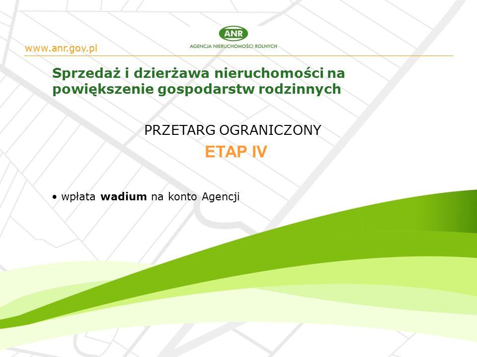www.anr.gov.pl Sprzedaż i dzierżawa nieruchomości na powiększenie gospodarstw rodzinnych wpłata wadium na konto Agencji ETAP IV PRZETARG OGRANICZONY