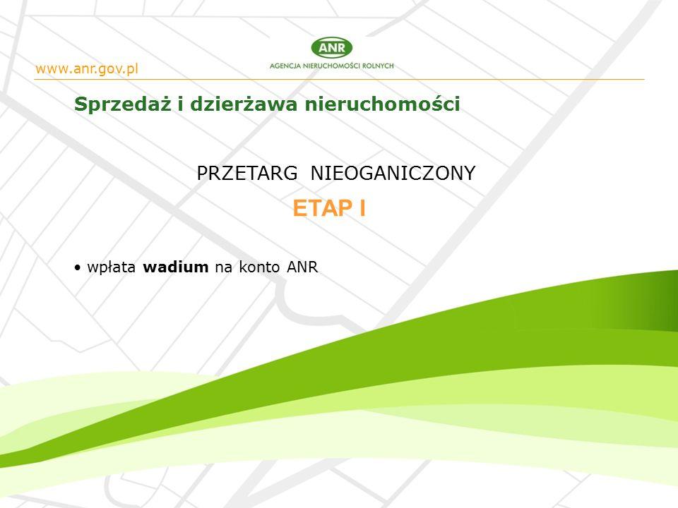 www.anr.gov.pl Sprzedaż i dzierżawa nieruchomości wpłata wadium na konto ANR ETAP I PRZETARG NIEOGANICZONY