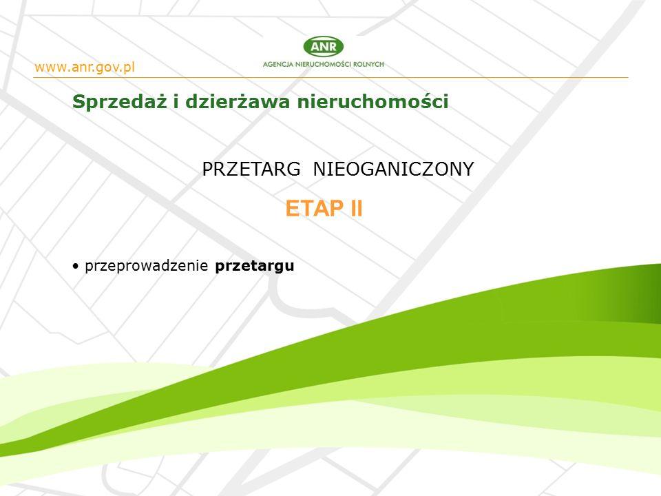 www.anr.gov.pl Sprzedaż i dzierżawa nieruchomości przeprowadzenie przetargu ETAP II PRZETARG NIEOGANICZONY