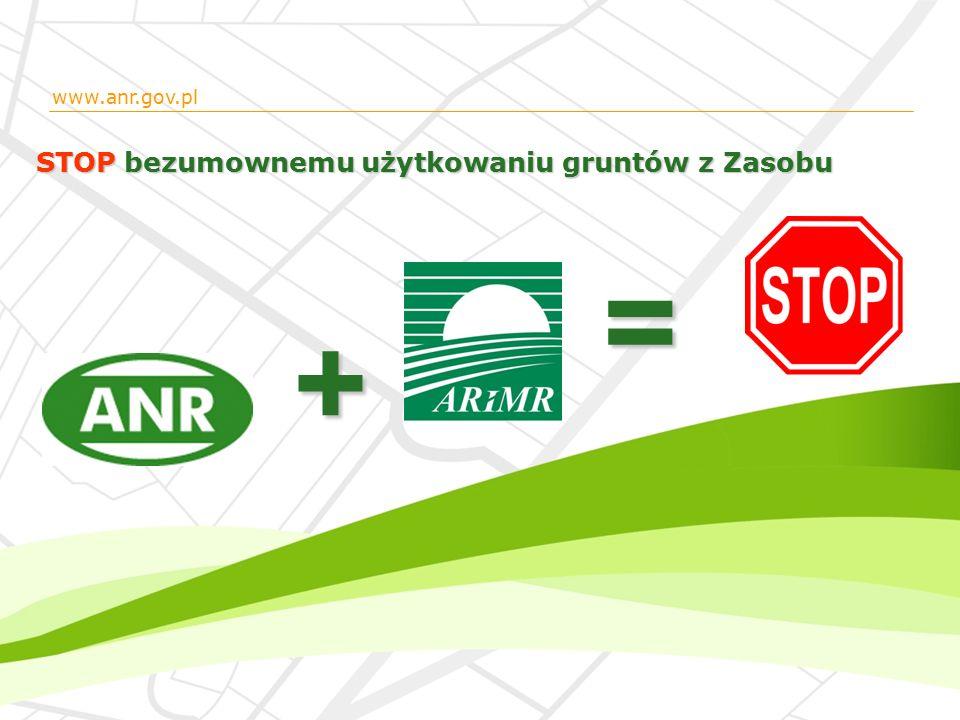 STOP bezumownemu użytkowaniu gruntów z Zasobu = + www.anr.gov.pl