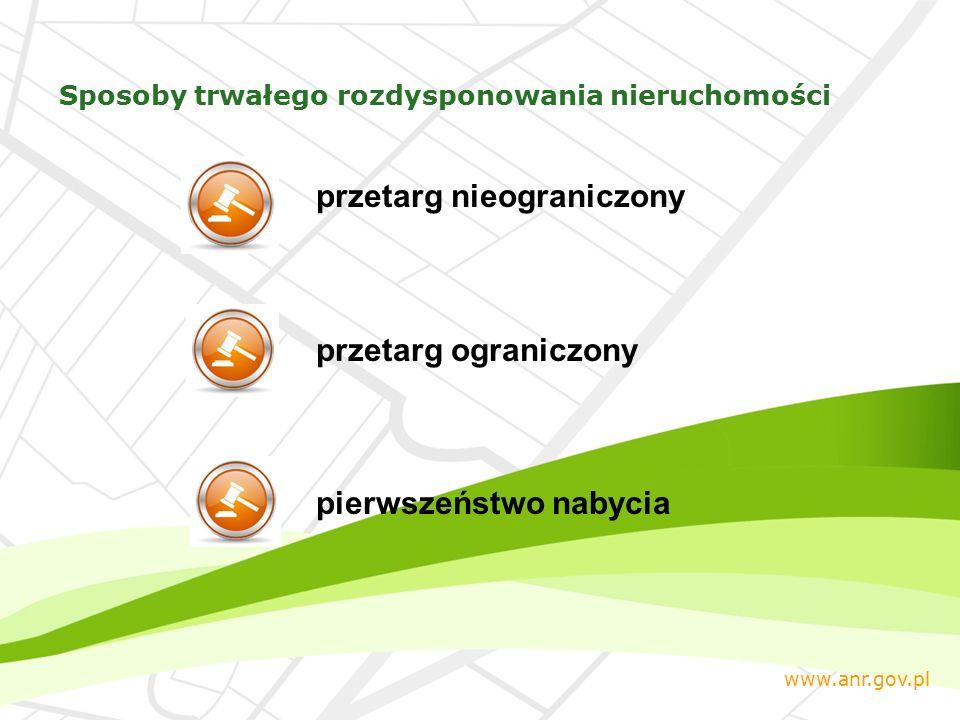 przetarg nieograniczony przetarg ograniczony pierwszeństwo nabycia www.anr.gov.pl Sposoby trwałego rozdysponowania nieruchomości