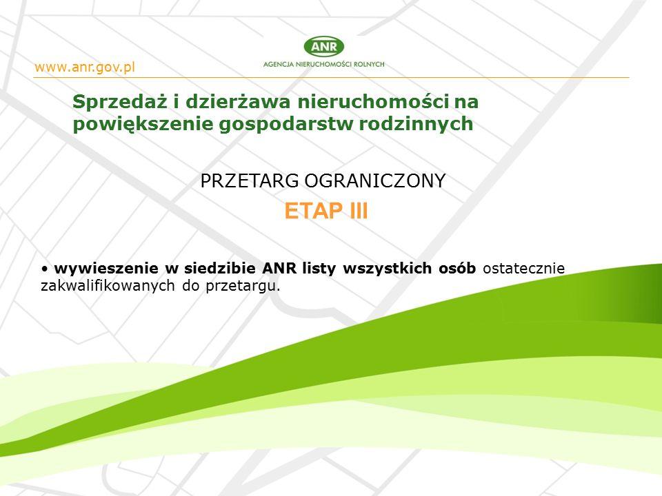 www.anr.gov.pl Sprzedaż i dzierżawa nieruchomości na powiększenie gospodarstw rodzinnych wywieszenie w siedzibie ANR listy wszystkich osób ostatecznie zakwalifikowanych do przetargu.