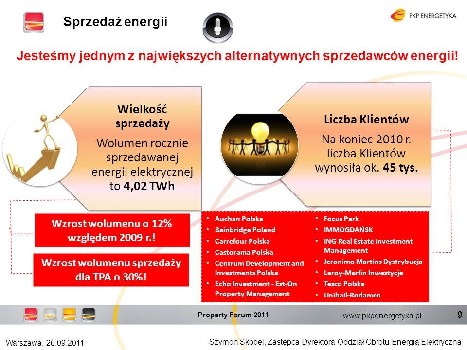 Szymon Skobel, Zastępca Dyrektora Oddział Obrotu Energią Elektryczną Warszawa, 26.09.2011 www.pkpenergetyka.pl Sprzedaż energii Jesteśmy jednym z największych alternatywnych sprzedawców energii.