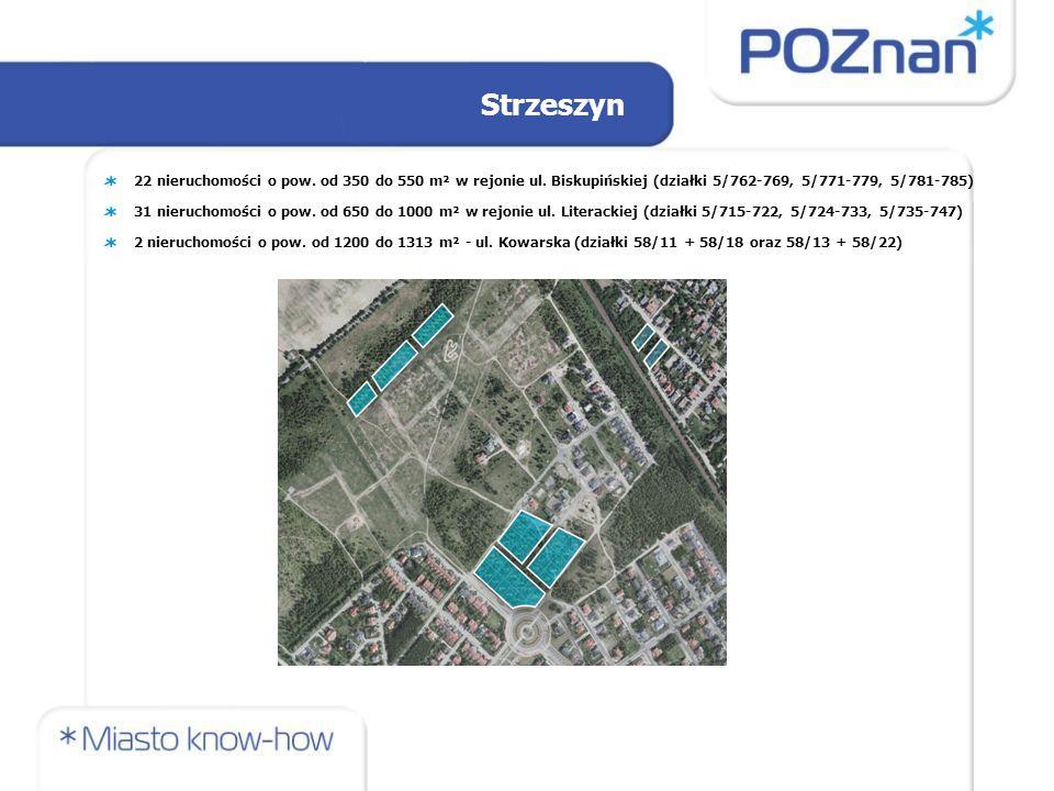 22 nieruchomości o pow. od 350 do 550 m² w rejonie ul.