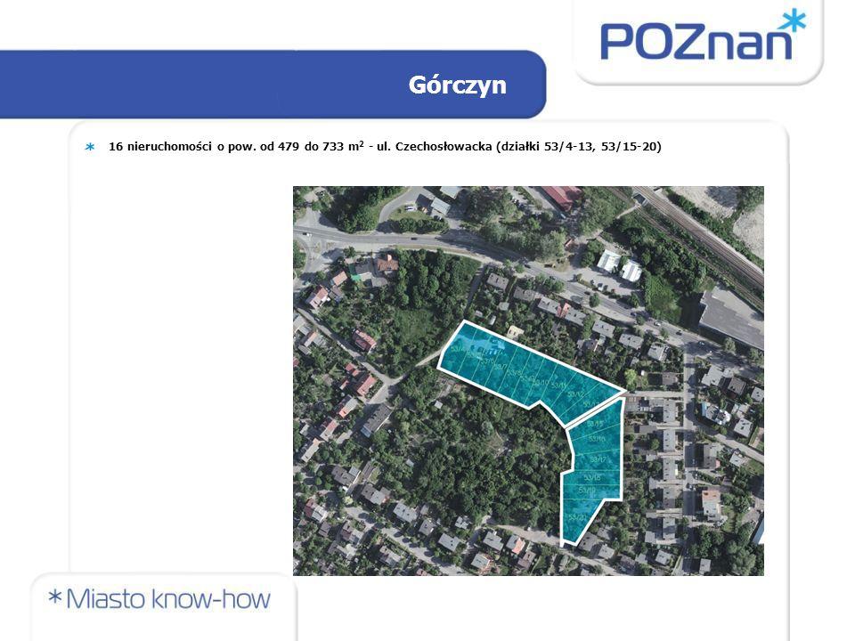 Górczyn 16 nieruchomości o pow. od 479 do 733 m 2 - ul. Czechosłowacka (działki 53/4-13, 53/15-20)