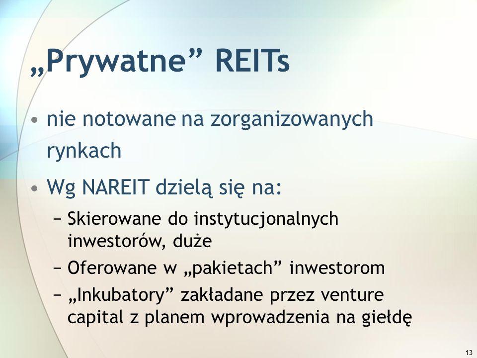 """13 """"Prywatne"""" REITs nie notowane na zorganizowanych rynkach Wg NAREIT dzielą się na: −Skierowane do instytucjonalnych inwestorów, duże −Oferowane w """"p"""
