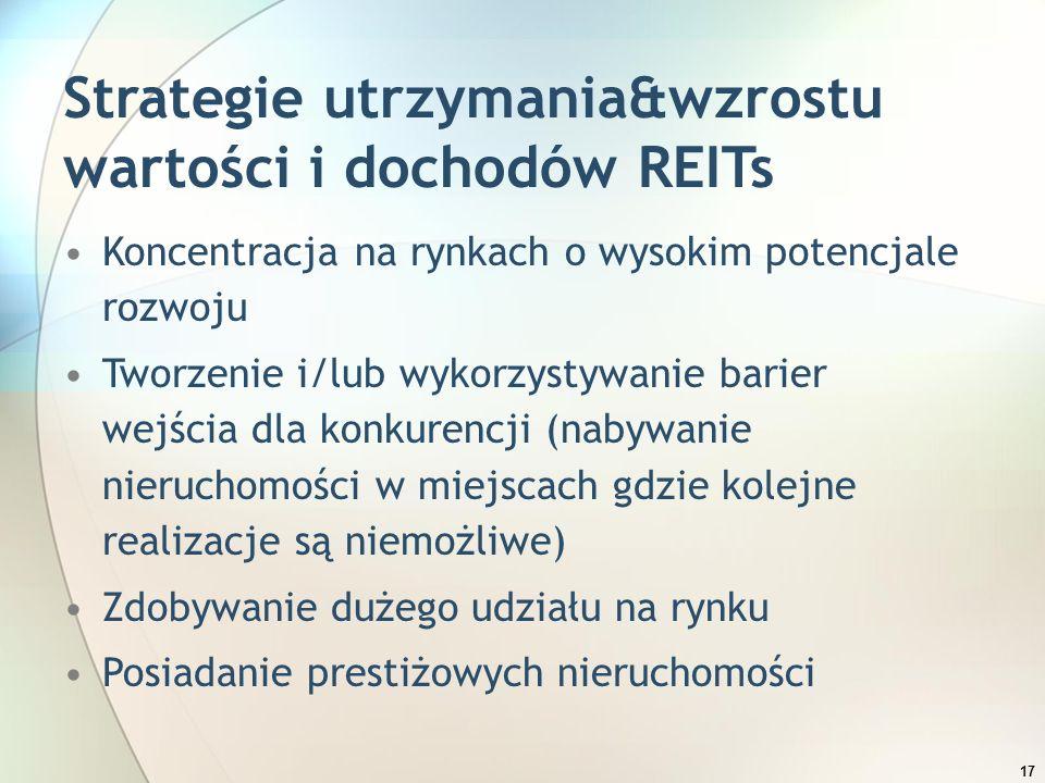 17 Strategie utrzymania&wzrostu wartości i dochodów REITs Koncentracja na rynkach o wysokim potencjale rozwoju Tworzenie i/lub wykorzystywanie barier