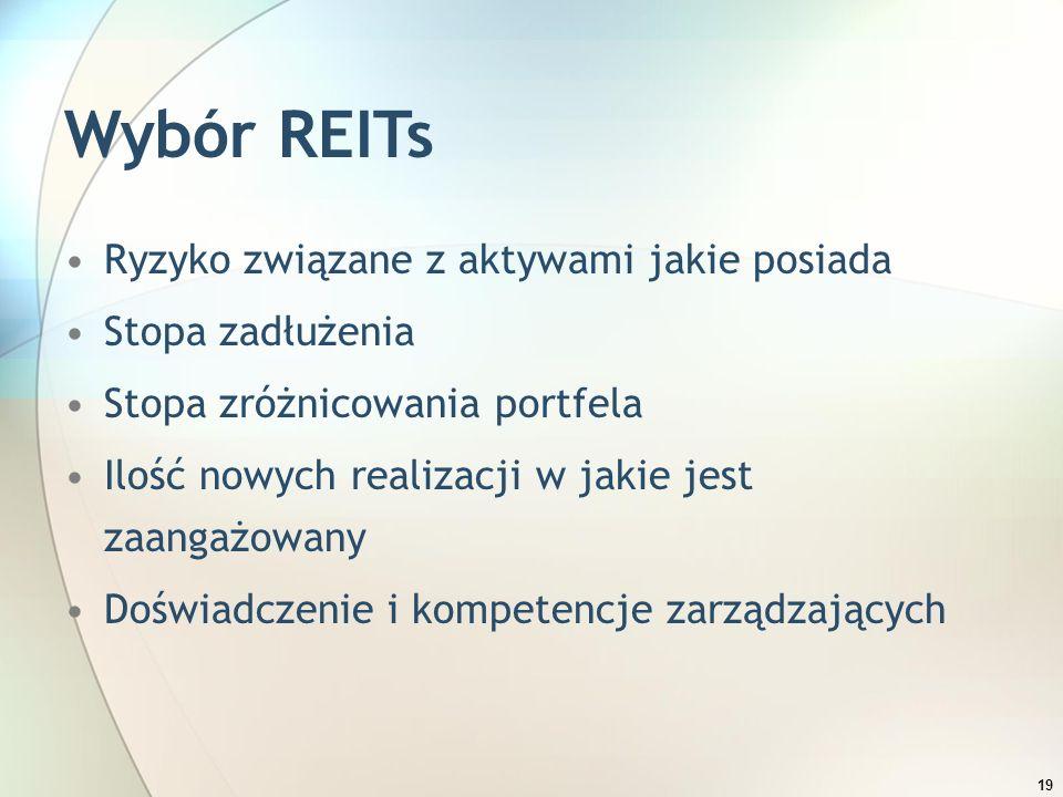 19 Wybór REITs Ryzyko związane z aktywami jakie posiada Stopa zadłużenia Stopa zróżnicowania portfela Ilość nowych realizacji w jakie jest zaangażowan