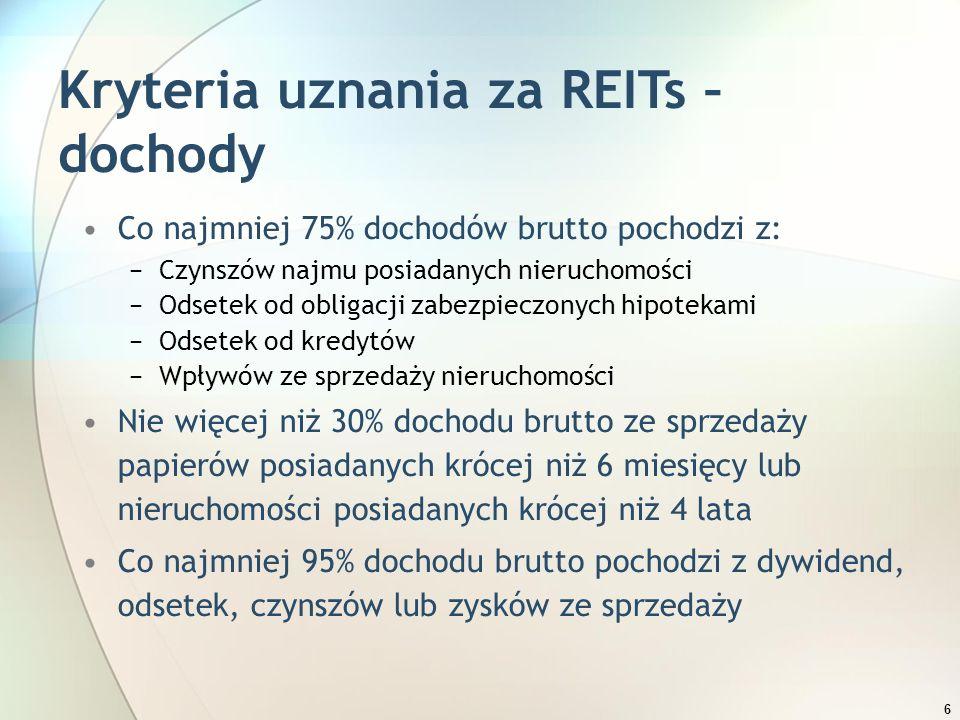 6 Kryteria uznania za REITs – dochody Co najmniej 75% dochodów brutto pochodzi z: −Czynszów najmu posiadanych nieruchomości −Odsetek od obligacji zabe