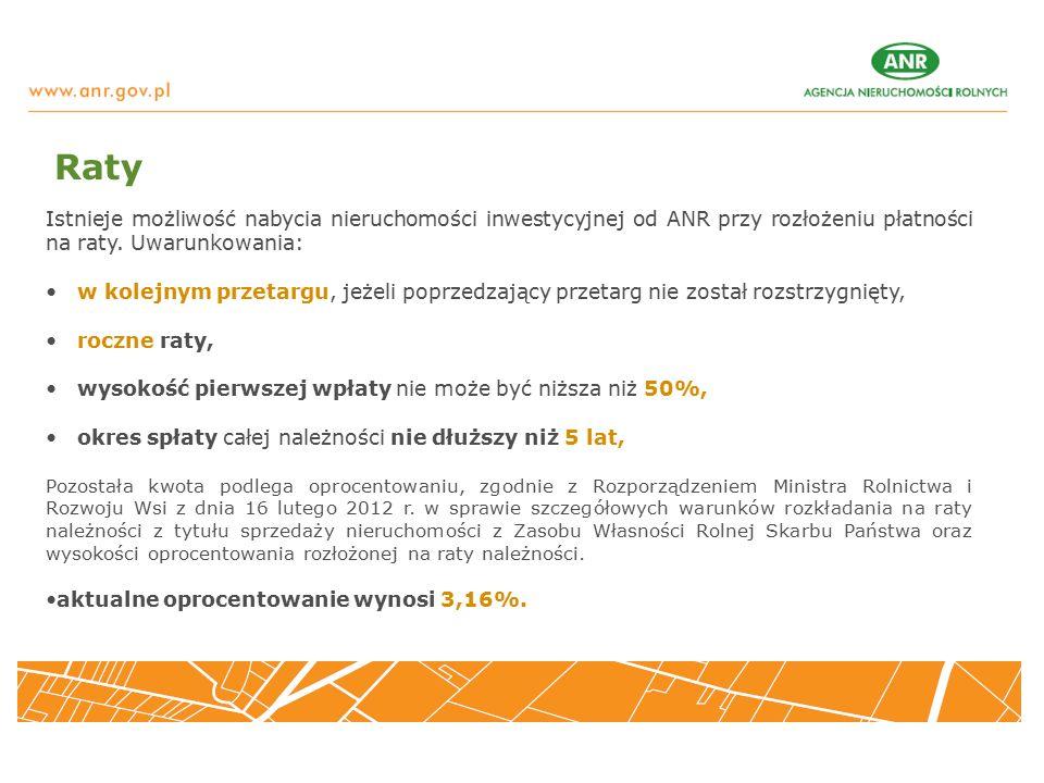 Istnieje możliwość nabycia nieruchomości inwestycyjnej od ANR przy rozłożeniu płatności na raty.