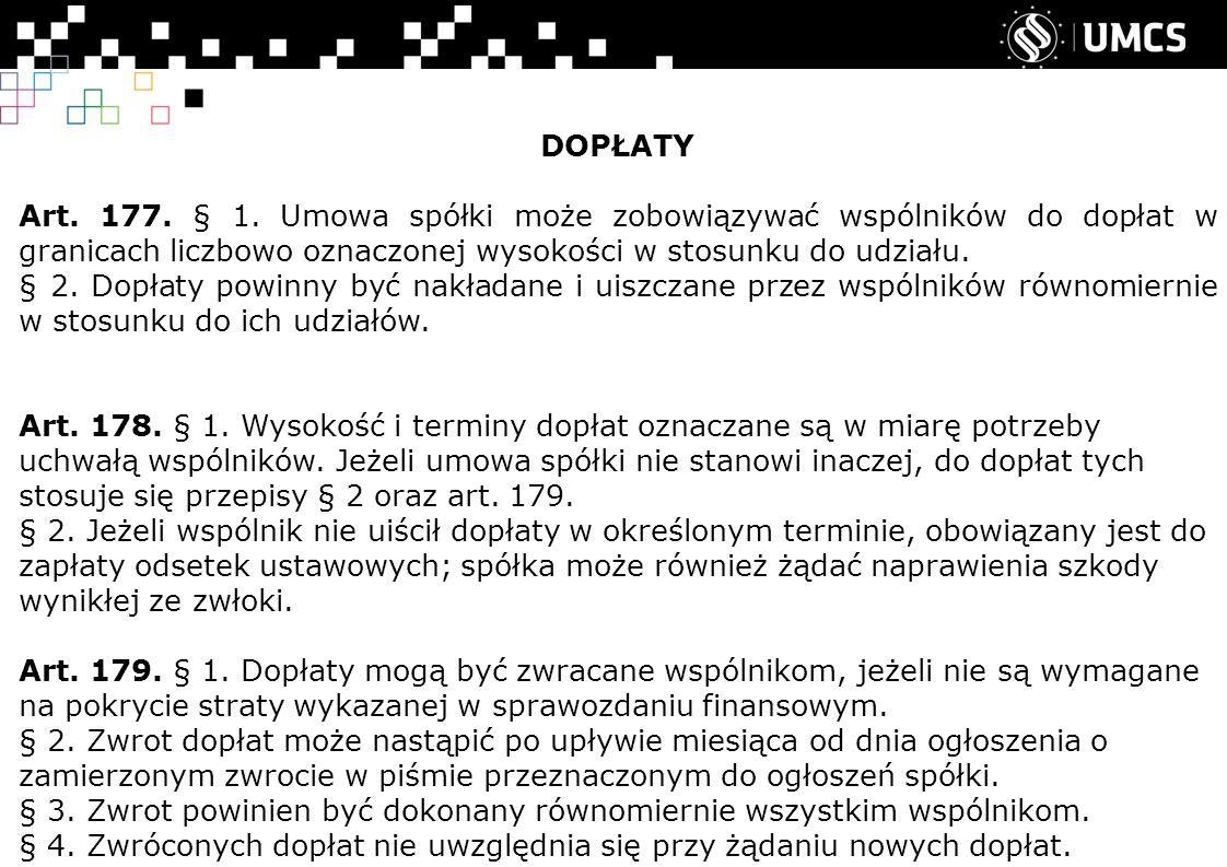 DOPŁATY Art. 177. § 1.