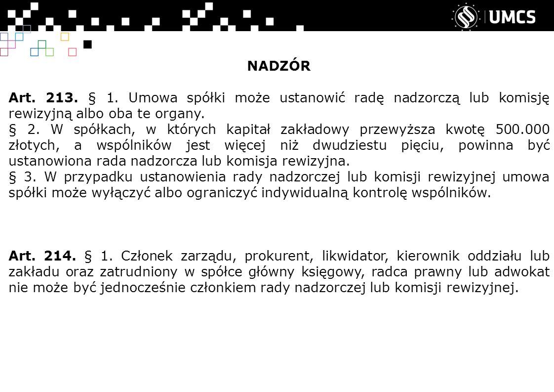 NADZÓR Art. 213. § 1.