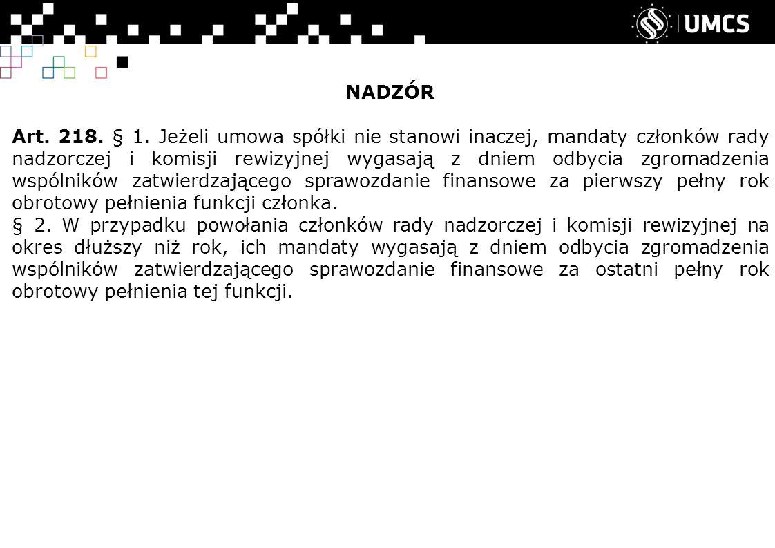 NADZÓR Art. 218. § 1.