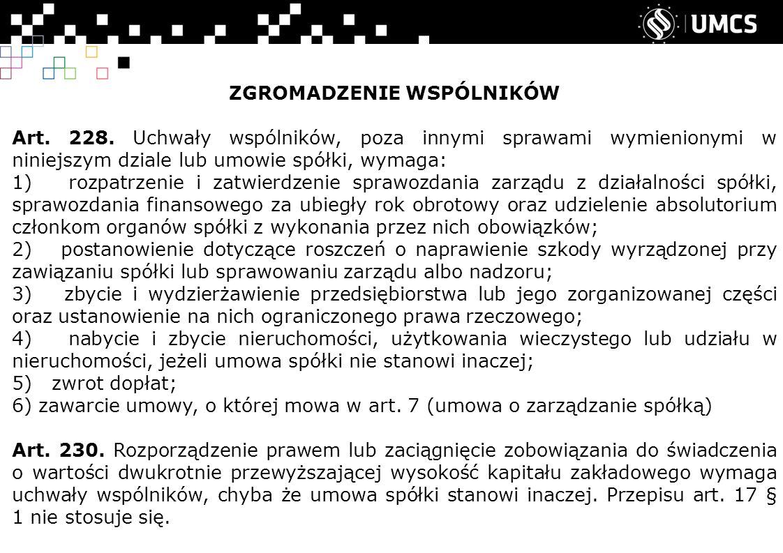 ZGROMADZENIE WSPÓLNIKÓW Art.228.