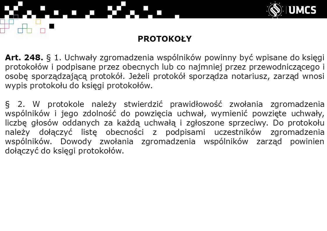 PROTOKOŁY Art. 248. § 1.