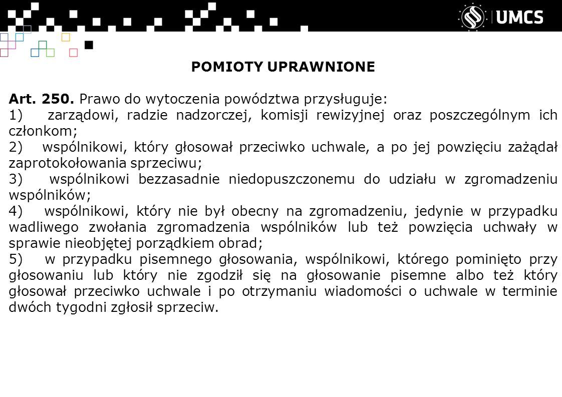 POMIOTY UPRAWNIONE Art. 250.