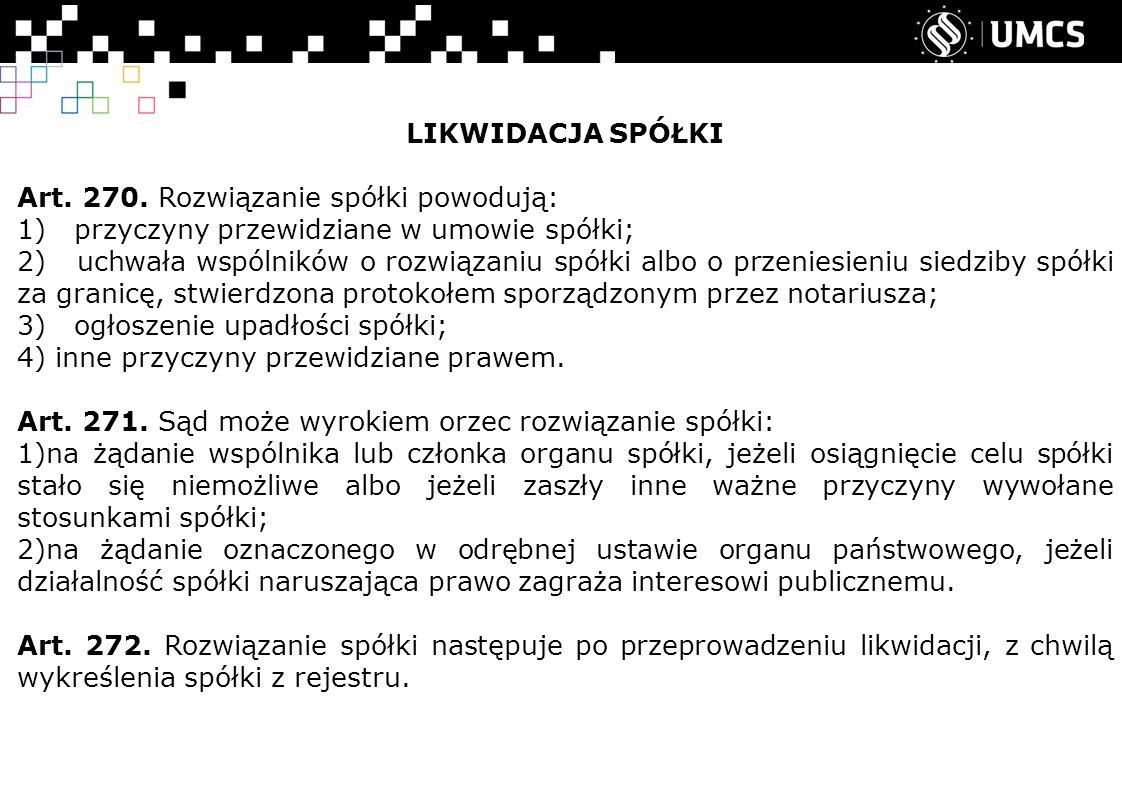 LIKWIDACJA SPÓŁKI Art. 270.