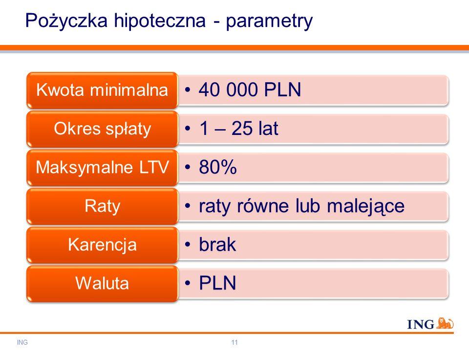 Do not put content on the brand signature area Orange RGB= 255,102,000 Light blue RGB= 180,195,225 Dark blue RGB= 000,000,102 Grey RGB= 150,150,150 ING colour balance Guideline www.ing-presentations.intranet Pożyczka hipoteczna - parametry ING11 40 000 PLN Kwota minimalna 1 – 25 lat Okres spłaty 80% Maksymalne LTV raty równe lub malejące Raty brak Karencja PLN Waluta