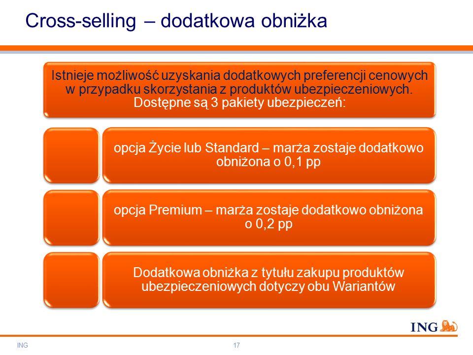 Do not put content on the brand signature area Orange RGB= 255,102,000 Light blue RGB= 180,195,225 Dark blue RGB= 000,000,102 Grey RGB= 150,150,150 ING colour balance Guideline www.ing-presentations.intranet Cross-selling – dodatkowa obniżka Istnieje możliwość uzyskania dodatkowych preferencji cenowych w przypadku skorzystania z produktów ubezpieczeniowych.