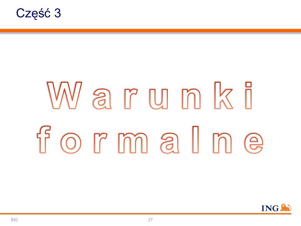 Do not put content on the brand signature area Orange RGB= 255,102,000 Light blue RGB= 180,195,225 Dark blue RGB= 000,000,102 Grey RGB= 150,150,150 ING colour balance Guideline www.ing-presentations.intranet Część 3 ING27