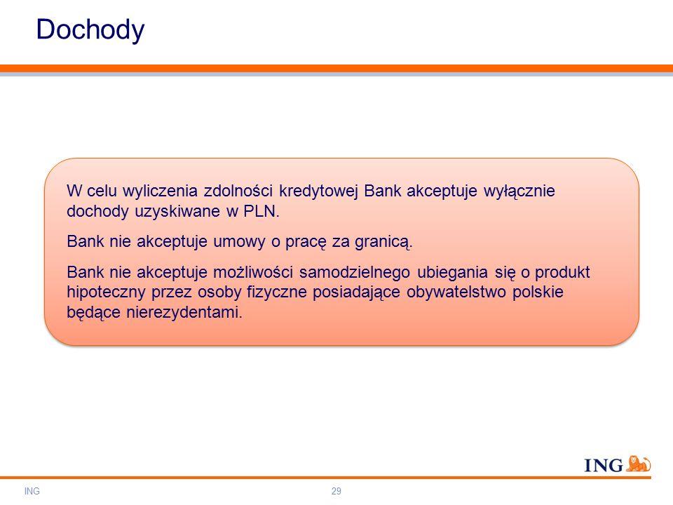 Do not put content on the brand signature area Orange RGB= 255,102,000 Light blue RGB= 180,195,225 Dark blue RGB= 000,000,102 Grey RGB= 150,150,150 ING colour balance Guideline www.ing-presentations.intranet Dochody ING29 W celu wyliczenia zdolności kredytowej Bank akceptuje wyłącznie dochody uzyskiwane w PLN.