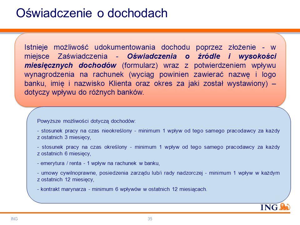 Do not put content on the brand signature area Orange RGB= 255,102,000 Light blue RGB= 180,195,225 Dark blue RGB= 000,000,102 Grey RGB= 150,150,150 ING colour balance Guideline www.ing-presentations.intranet Oświadczenie o dochodach ING35 Istnieje możliwość udokumentowania dochodu poprzez złożenie - w miejsce Zaświadczenia - Oświadczenia o źródle i wysokości miesięcznych dochodów (formularz) wraz z potwierdzeniem wpływu wynagrodzenia na rachunek (wyciąg powinien zawierać nazwę i logo banku, imię i nazwisko Klienta oraz okres za jaki został wystawiony) – dotyczy wpływu do różnych banków.