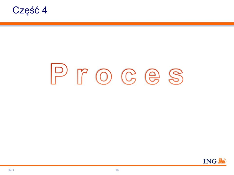 Do not put content on the brand signature area Orange RGB= 255,102,000 Light blue RGB= 180,195,225 Dark blue RGB= 000,000,102 Grey RGB= 150,150,150 ING colour balance Guideline www.ing-presentations.intranet Część 4 ING36