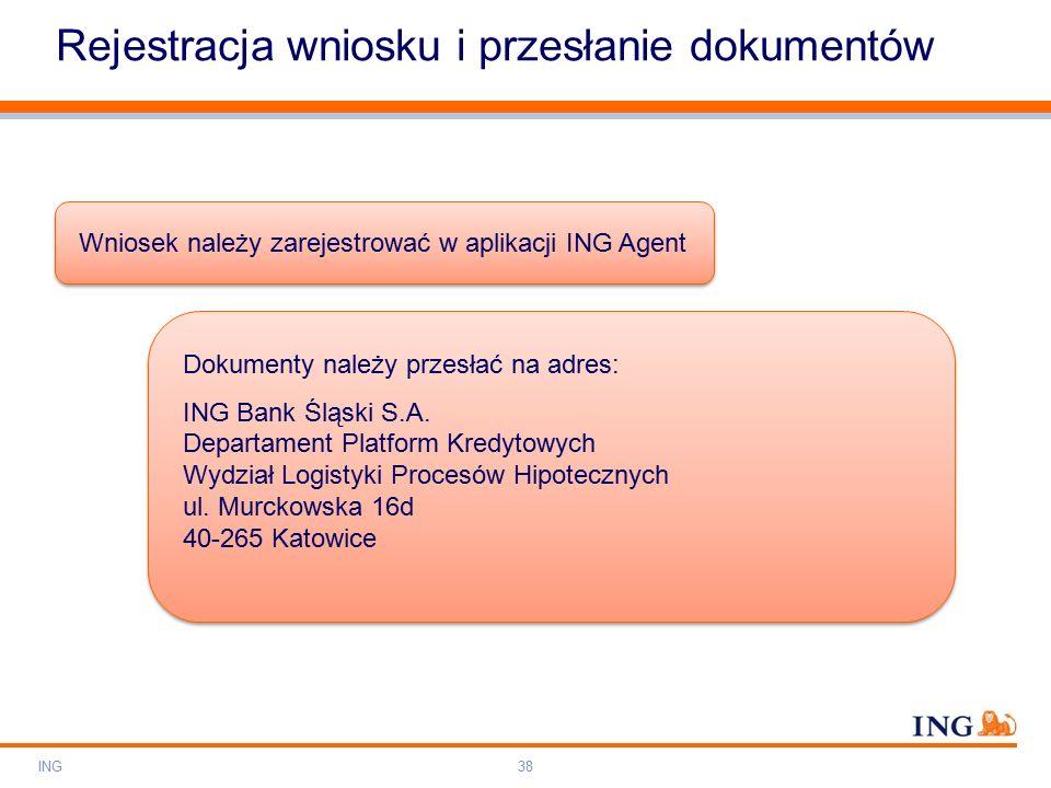Do not put content on the brand signature area Orange RGB= 255,102,000 Light blue RGB= 180,195,225 Dark blue RGB= 000,000,102 Grey RGB= 150,150,150 ING colour balance Guideline www.ing-presentations.intranet Rejestracja wniosku i przesłanie dokumentów ING38 Wniosek należy zarejestrować w aplikacji ING Agent Dokumenty należy przesłać na adres: ING Bank Śląski S.A.