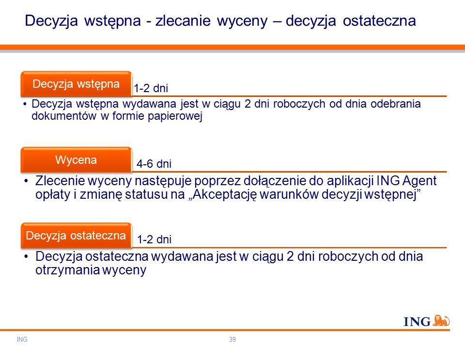 """Do not put content on the brand signature area Orange RGB= 255,102,000 Light blue RGB= 180,195,225 Dark blue RGB= 000,000,102 Grey RGB= 150,150,150 ING colour balance Guideline www.ing-presentations.intranet Decyzja wstępna - zlecanie wyceny – decyzja ostateczna ING39 1-2 dni Decyzja wstępna Decyzja wstępna wydawana jest w ciągu 2 dni roboczych od dnia odebrania dokumentów w formie papierowej 4-6 dni Wycena Zlecenie wyceny następuje poprzez dołączenie do aplikacji ING Agent opłaty i zmianę statusu na """"Akceptację warunków decyzji wstępnej 1-2 dni Decyzja ostateczna Decyzja ostateczna wydawana jest w ciągu 2 dni roboczych od dnia otrzymania wyceny"""
