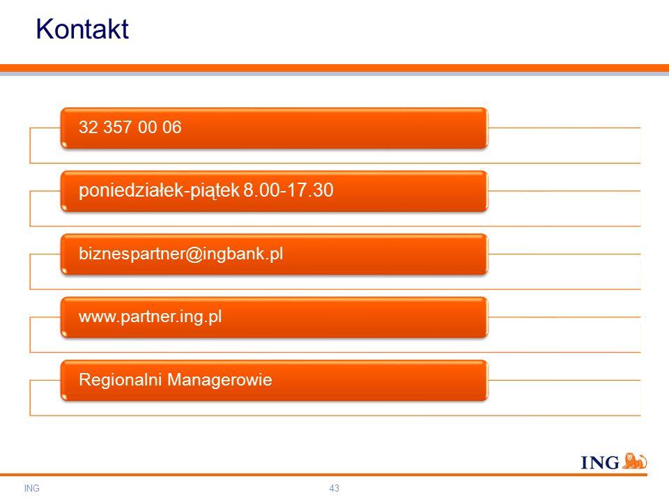 Do not put content on the brand signature area Orange RGB= 255,102,000 Light blue RGB= 180,195,225 Dark blue RGB= 000,000,102 Grey RGB= 150,150,150 ING colour balance Guideline www.ing-presentations.intranet Kontakt ING43 32 357 00 06 poniedziałek-piątek 8.00-17.30 biznespartner@ingbank.plwww.partner.ing.plRegionalni Managerowie