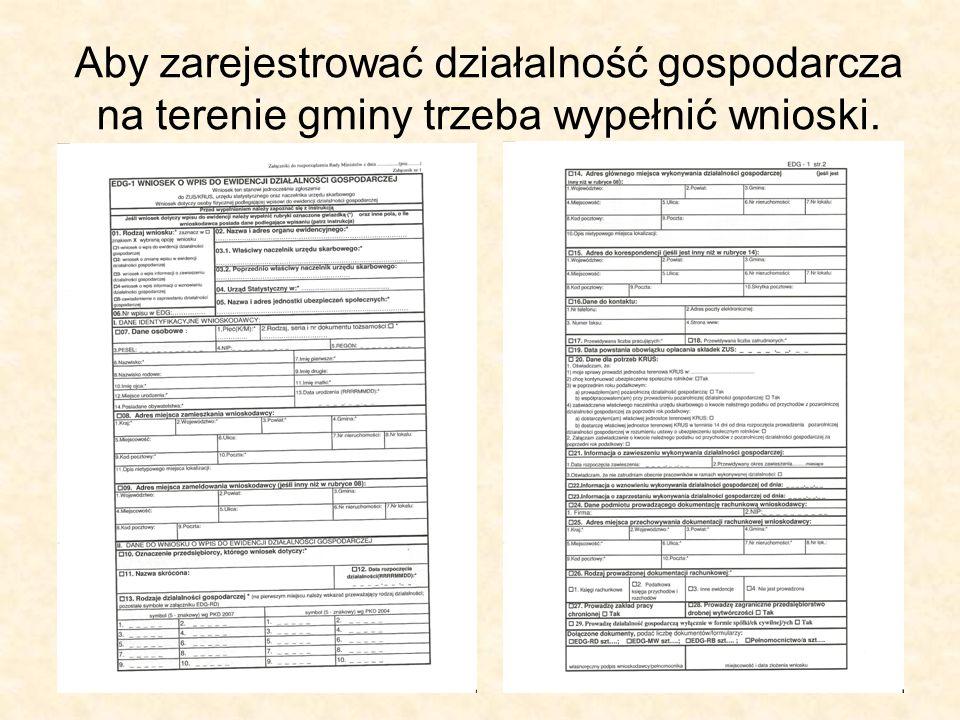 Aby zarejestrować działalność gospodarcza na terenie gminy trzeba wypełnić wnioski.