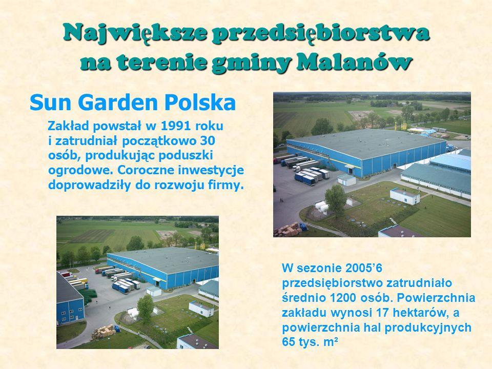 Najwi ę ksze przedsi ę biorstwa na terenie gminy Malanów Sun Garden Polska Zakład powstał w 1991 roku i zatrudniał początkowo 30 osób, produkując poduszki ogrodowe.