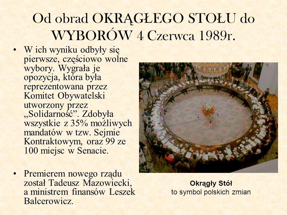 Od obrad OKR Ą G Ł EGO STO Ł U do WYBORÓW 4 Czerwca 1989r.