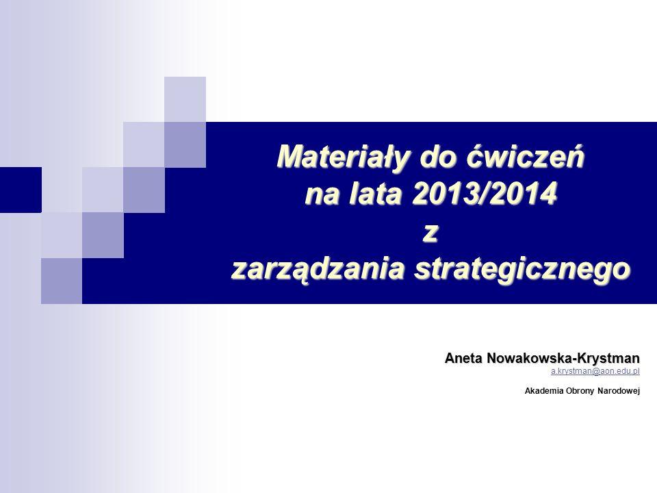 2 WYMAGANIA Proszę o przygotowanie się na każde ćwiczenia w następujący sposób: 1) dobierzcie się Państwo po dwie osoby (w tych parach pracujecie na wszystkich zajęciach z zarządzania strategicznego), 2) przygotujecie się do każdych zajęć wykorzystując wskazówki zawarte w materiale, 3) na każdych zajęciach każda grupa prezentujecie wyniki swoich badań (to warunkuje otrzymania plusa za aktywność) 4) prace po złożeniu u prowadzącego ćwiczenia są oceniane na punkty, 5) praca ma zawierać krótkie wprowadzenie, wyniki badań, wnioski; 6) ćwiczenia kończą się testem, 7) punkty z prezentacji i testu stanowią o ocenie końcowej a plusy podwyższają tą ocenę.