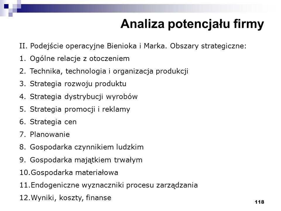 118 Analiza potencjału firmy II. Podejście operacyjne Bienioka i Marka. Obszary strategiczne: 1.Ogólne relacje z otoczeniem 2.Technika, technologia i