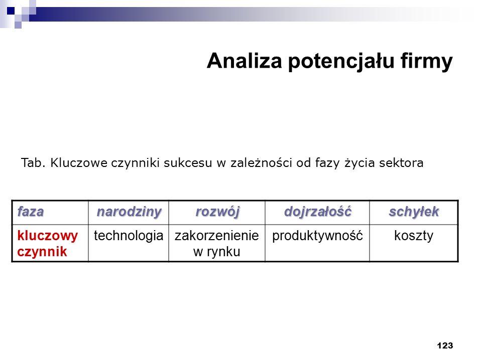 123 Analiza potencjału firmy Tab. Kluczowe czynniki sukcesu w zależności od fazy życia sektora fazanarodzinyrozwójdojrzałośćschyłek kluczowy czynnik t