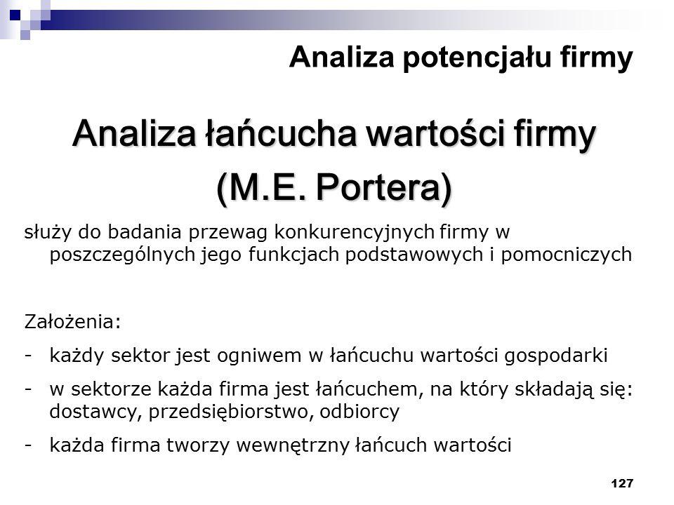 127 Analiza potencjału firmy Analiza łańcucha wartości firmy (M.E. Portera) służy do badania przewag konkurencyjnych firmy w poszczególnych jego funkc
